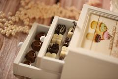 Box with chocolate sweets Stock Photos