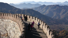 Walking on China Great Wall, misty mountains Stock Footage