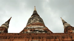 Pan Down of Temple / Statue of Buddha Stock Footage