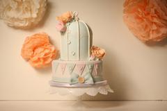 Bird cage marzipan cake Stock Photos