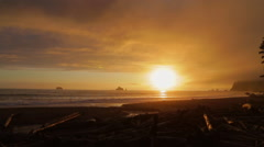 Sunset in the Pacific Northwest at Rialto Beach - stock footage