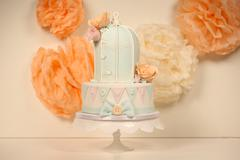 Bird cage shape wedding cake Stock Photos