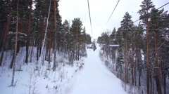 Ski track with chair lift, resort in mountains, Siberia Stock Footage
