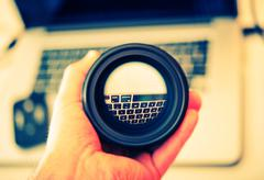 Digital Photography Lens Cleaning. 35mm Lens Check. Stock Photos