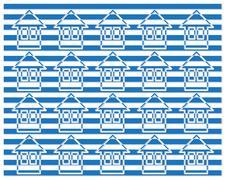 blue homes pattern - stock illustration