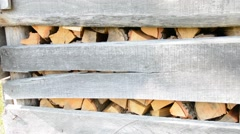 Stack of firewood Stock Footage