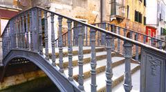 Metal bridge cross canal Stock Photos