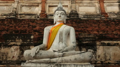 Pan Up of Temple / Statue of Buddha Stock Footage