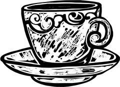 Woodcut Teacup Stock Illustration
