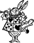 Woodcut White Rabbit Herald Stock Illustration