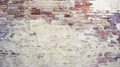 decay wall mixed with brick  horizontal - stock photo