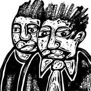 Woodcut Two Men Stock Illustration