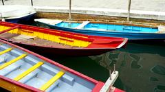 colorful boats in Venice Canal - stock photo