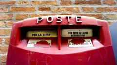 Close up red postal box public Stock Photos