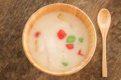 Water chestnut coated with tapioca starch in coconut cream Stock Photos