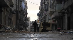 Free Syrian Army Fighters Walk Stock Footage