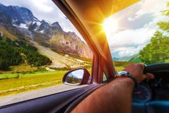 Mountains Summer Road Trip. - stock photo