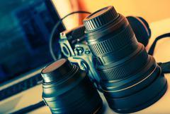 Professional Digital Photograpy Equipment on a Desk. Stock Photos