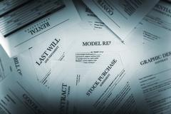 Pile of Legal Documents Closeup. Contracts, Releases and Applications. - stock photo