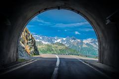 Scenic Swiss Alps Drive. Stock Photos