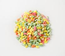Sugar coated colored puffed rice Stock Photos