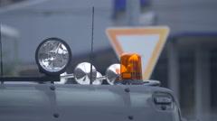 Orange siren on a car, Berlin Stock Footage