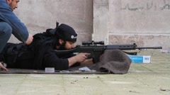 Free Syrian Army Target Practice Stock Footage