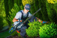 Trimming Works in a Garden. - stock photo