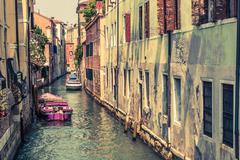 Venice Canal Architecture. Venetian Water Canal. - stock photo