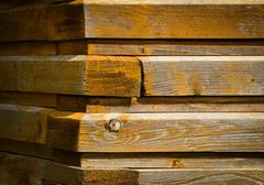 Corner of old wooden cottage Stock Photos