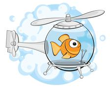 Gold fish in helicopter Piirros