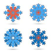 four isolated the abstract snowflakes - stock illustration