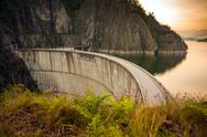 Stock Photo of Artificial Lake behind the Bicaz Dam at sunset