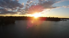 drone sunset over lake - stock footage