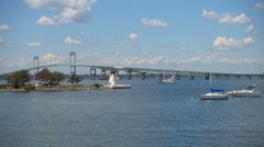 Claiborne Pell Newport Bridge Newport Rhode Island Bridge Stock Footage