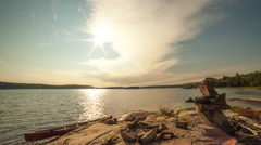 Canada lake sunset time-lapse Stock Footage