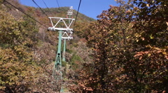 Cable car lines, Chinese mountains, autumn Stock Footage