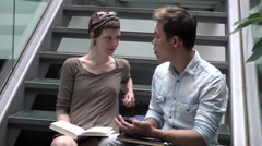 Multicultural students talking with books - stock footage