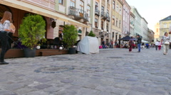 Day street  scene with  people in old European city Lviv in Ukraine. 4K 3840x216 Stock Footage