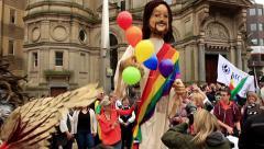 Birmingham Gay Pride - Big puppet of Jesus Stock Footage