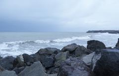 winter sea storm soon. Burgas. Bolgariya - stock photo