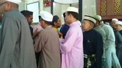 Muslim Congregation After Prayer Stock Footage