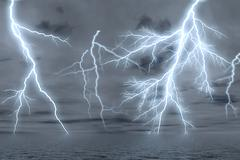 Thunderstorm over the sea. - stock illustration
