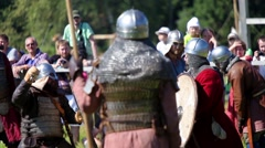 Participants on international historical festival of medieval culture Stock Footage