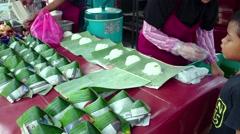 Nasi Lemak Vendor At Night Market Stock Footage