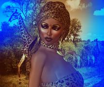 Abstract image of African American Woman in Leopard Print Fashion Head Scarf. - stock illustration