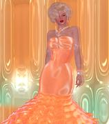 Blonde bombshell in a peach evening gown against a matching abstract background. - stock illustration