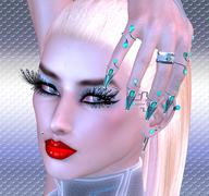 Girl with futuristic nails, eyelashes and make up. Blonde hair and red lipstick - stock illustration