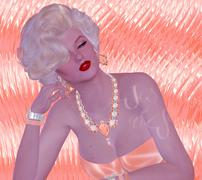 Blonde bombshell on pink glitter and diamond background. - stock illustration