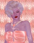 Blonde bombshell on pink glitter and diamond background. Stock Illustration